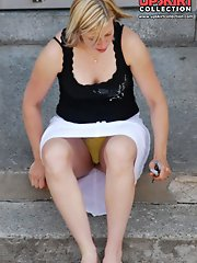 12 pictures - Oops! She spreaded her legs. Result - oops upskirt