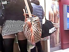 3 movies - Public upskirt with thong under it