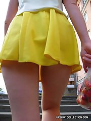 15 pictures - Extra hot shots with short skirts hardly hiding nude butts