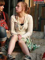 12 pictures - Up skirt teen girls - cute teenie voyeured sitting
