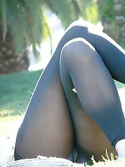 12 pictures - Ragged pantyhose on slim legs. The real upskirt
