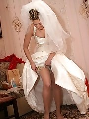 9 pictures - Pics of Lovely Bride In White With Stockings Over Pantyhose
