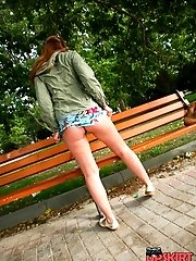 24 pictures - Candid outdoor upskirt